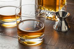 Delicious Bourbon Whiskey Neat. In a Glass stock images
