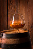 Delicious bourbon on a wooden barrel Stock Photography