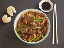 Bowl of Asian Food Style Angus Meat with Vegetables and Soy Sauce. Delicious Bowl of Asian Food Style Angus Meat with Vegetables and Soy Sauce stock photography