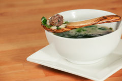 Delicious bowl of Italian Wedding Meatball Soup Royalty Free Stock Photography