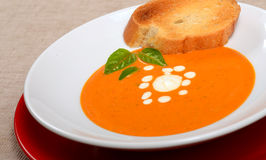 Delicious bowl of tomato soup with grilled bread and basil Stock Photography