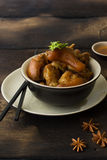 Delicious braised pig knuckles. In brown sauce Royalty Free Stock Photos