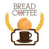 Delicious bread and coffee label Stock Images