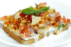 Delicious bread Dahi papdi Chaat focus in middle Stock Images