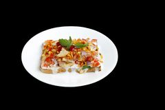Delicious bread Dahi papdi Chaat isolated on black Stock Images