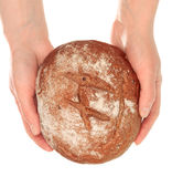 Delicious Bread in Hands Royalty Free Stock Images