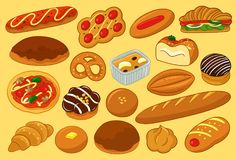 Delicious Bread and Pastry Vector Illustration. For many purpose such as menu book, cook book illustration or cover, stationary print on textile, bag, purse Vector Illustration