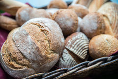 Delicious bread and rolls in basket. Delicious bread and rolls in a wicker basket Royalty Free Stock Images
