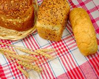 Delicious bread on the tablecloth Royalty Free Stock Photos