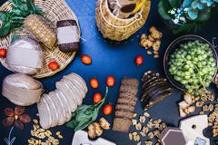 Delicious Bread. Themed decorated dinner table with appetizers. royalty free stock photo