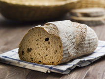 Delicious bread on a wood table Stock Images