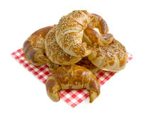 Delicious breakfast. Fresh croissants isolated on a white background Royalty Free Stock Image