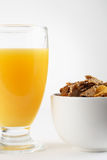 Delicious breakfast. Bowl of cereal and orange juice Stock Image