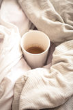 Delicious Breakfast in bed with a big sword coffee. Food Stock Photo