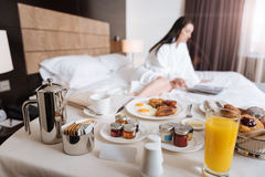 Delicious breakfast being served for a hotel guest Stock Photo