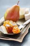 Delicious breakfast - brie, honey and pear. Royalty Free Stock Photography