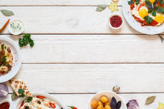 Delicious breakfast buffet frame on white wood Royalty Free Stock Photography