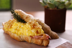 Delicious breakfast croissant Royalty Free Stock Photography