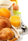 Delicious breakfast with croissants Stock Images