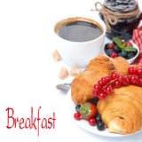 Delicious breakfast with croissants and jam, isolated Stock Photography