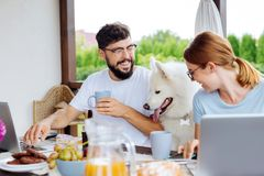 Cute couple having delicious breakfast on summer terrace with dog stock photography