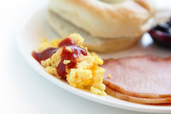 Delicious breakfast with egg and ham Stock Image