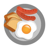 Delicious breakfast with egg, sausages,and bread. Stock Photos