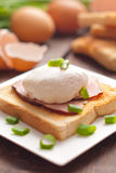Delicious breakfast. Eggs benedict with ham on toast. Stock Image