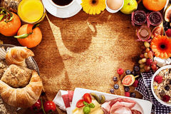 Delicious breakfast food border Stock Image