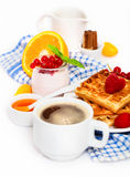 Delicious breakfast with fresh coffee Stock Photo