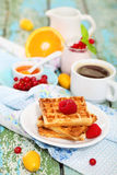 Delicious breakfast with fresh coffee Royalty Free Stock Photo