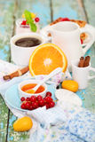 Delicious breakfast with fresh coffee Royalty Free Stock Photos