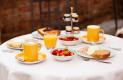 Delicious breakfast with fruit salad Stock Photography