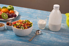 Delicious breakfast of fruit salad and yogurt Royalty Free Stock Images