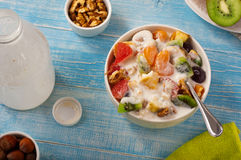 Delicious breakfast of fruit salad and yogurt Stock Photos