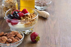 Delicious breakfast with granola, berries, yogurt and seed Stock Photography