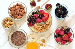 Delicious breakfast with granola, berries, yogurt and seeds. Stock Photography