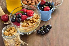 Delicious breakfast with granola, berries, yogurt and seeds. Vegetarian food, diet and health concept. Delicious breakfast with granola, berries, yogurt and Royalty Free Stock Image