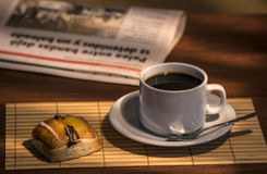 Delicious breakfast. Hot coffee breakfast with masses Stock Photos