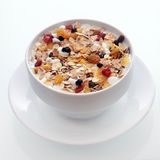 Delicious breakfast muesli with fruit and nuts Royalty Free Stock Photo