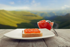 Delicious breakfast on the nature Royalty Free Stock Photo