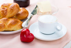 Delicious breakfast with a nice cup of coffee, fresh braided bre Stock Photo
