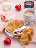 Delicious breakfast with a nice cup of coffee, fresh braided bre Royalty Free Stock Photography