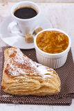 Delicious breakfast with a nice cup of coffee, fresh pastries an Royalty Free Stock Image