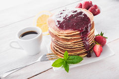 Delicious breakfast with pancake Royalty Free Stock Photos