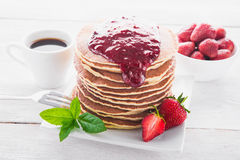 Delicious breakfast with pancake Stock Images