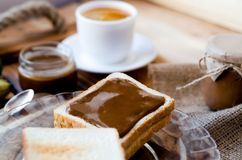 Delicious breakfast with peanut butter toast royalty free stock photos
