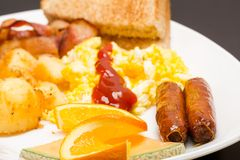 Scrambled Eggs and Sausage Royalty Free Stock Photography