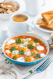 Delicious breakfast with quail eggs, vertical Stock Images