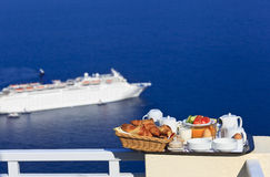 Delicious breakfast by the sea Stock Images